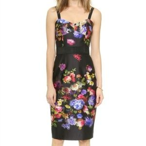 Milly Floral Satin Bustier Midi Cocktail Dress
